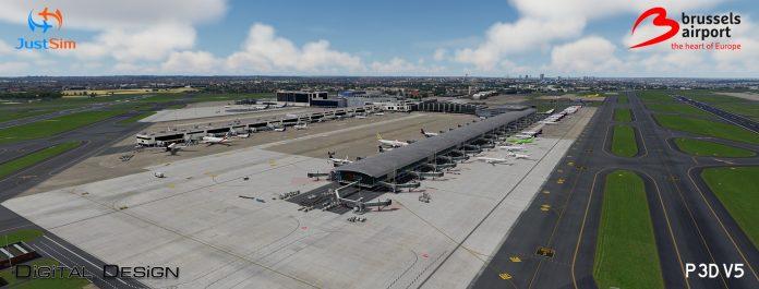 JustSim propose l'aéroport de Bruxelles v2.1 pour Prepar3D v5